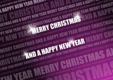 Purple shiny christmas text. White glimmering text on a purple background with light coming from the right and text in the background stock illustration