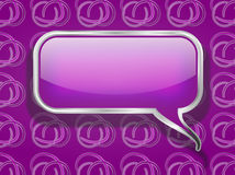 Purple Speech Bubble on Retro Background Stock Photo