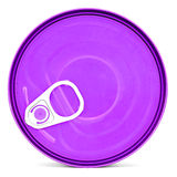 Purple shiny top of food can with pull-ring isolated Stock Photo