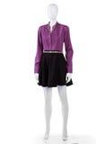 Purple shirt and black skirt. Royalty Free Stock Photo