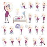 Purple shirt old women White_sickness. Set of various poses of purple shirt old women White_sickness Stock Photography