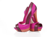 Purple shoes. On a white background royalty free stock photography