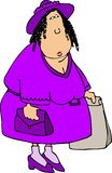 Purple Shopper. This illustration depicts a large woman all dressed up to go shopping Royalty Free Stock Images