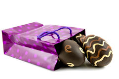Purple shopping bag with easter eggs Royalty Free Stock Photo