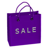 Purple shopping bag with word sale Royalty Free Stock Photo