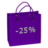 Purple shopping bag with word -25% Stock Photo