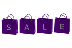 Purple shopping bags with word sale. 3D rendering. Stock Photo
