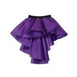 Purple short front long back skirt on white background Stock Images