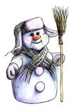 Purple Siberian snowman in winter hat and warm knit scarf standi. Ng on a white background isolated with a broom in his hand. painted in watercolor royalty free illustration