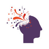 Purple silhouette profile human head with colorful explosion Stock Photos