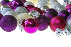 Purple and silver christmas balls Stock Images