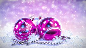 Purple and silver christmas balls on snow with glitter bokeh background. Seamless loop. 3D render stock video footage