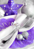Purple and silver Christmas Table Setting Royalty Free Stock Image