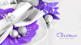 Purple and silver Christmas Table Setting Stock Photography