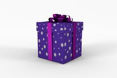 Purple and silver gift box. On white background Stock Photography