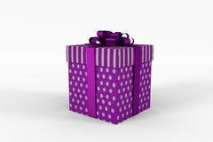 Purple and silver gift box Stock Photos