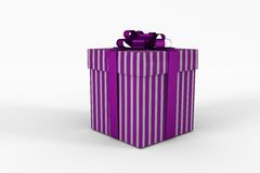 Purple and silver gift box. On white background Royalty Free Stock Photo