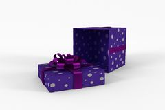 Purple and silver gift box Stock Photography