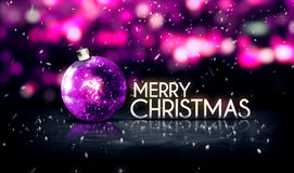 Purple Silver Merry Christmas Bokeh Beautiful 3D Background Stock Image