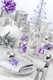 Purple & Silver Themed Table Setting stock images