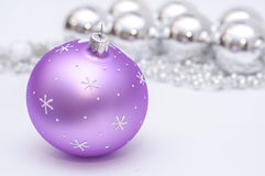 Purple and silver xmas decoration. Stock Images