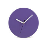Purple simple round wall clock - watch isolated on white backgro Royalty Free Stock Photography