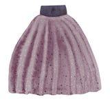 Purple skirt with frills. Purple modern skirt with frills. Watercolor fashion illustration vector illustration