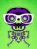 Purple skull and bone with green background. Purple skull and bone with white glasses and green background Royalty Free Stock Photography