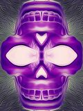 Purple skull with grey background. Drawing and painting purple skull with grey background Stock Images