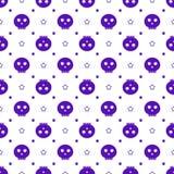 Purple skulls Halloween pattern Royalty Free Stock Image