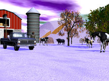 Purple Sky. Feeding time at the barn. The animals are gathering while the man gets the hay and feed ready Royalty Free Stock Image