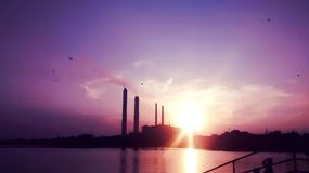 Purple sky. The beauty at the time of sunset stock photography