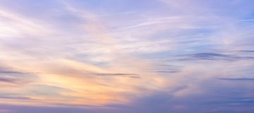 Purple Sky. And clouds in sunset time Stock Images