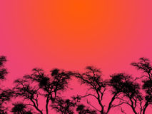 Purple Sky Silhouettes. An illustration of tree silhouettes over a red sky at night Stock Photos