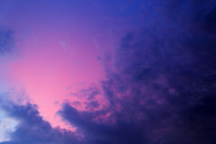 Purple sky after sunset. Beautiful purple sky with clouds after sunset Stock Photography