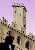 Purple sky tower. Fantasy illustration of a man's silhouette standing on an ancient tower stock illustration