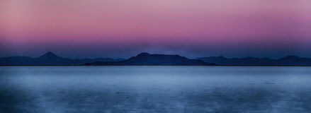 Purple Sky White Sands. Sunset on the Bonneville Salt Flats in Utah Stock Photography