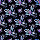 Purple small flowers on the black background seamless pattern Stock Images