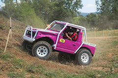 Purple small off road in terrain Stock Images