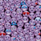Purple smile emoticons wallpaper happy cry sad smiling angry. Vector illustration Royalty Free Stock Images