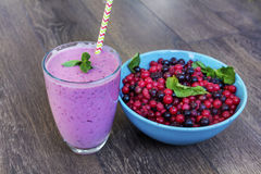 Purple smoothie with forest fruits . Healthy life concept. royalty free stock photos