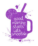Purple smoothie in mason jar silhouette. Stock Images