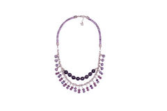 Purple Snake Leather Necklace With Gems Stock Photo