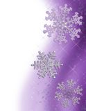 Purple Snowflake Border. Illustration of a Vertical snowflake border in shades of purple Royalty Free Stock Photo