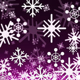 Purple Snowflakes Background Shows Snowing Winter And Seasons Stock Photos