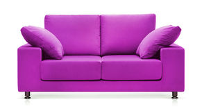 Purple sofa stock photo