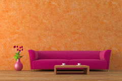 Purple sofa. Modern purple sofa with tulips and coffee table Stock Photo