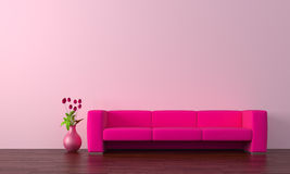 Purple sofa. Modern purple sofa with tulips Royalty Free Stock Images