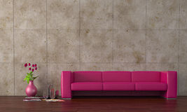 Purple sofa. Modern purple leather sofa with tulips Stock Photos