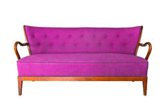 Purple sofa isolated with clipping path Royalty Free Stock Photo